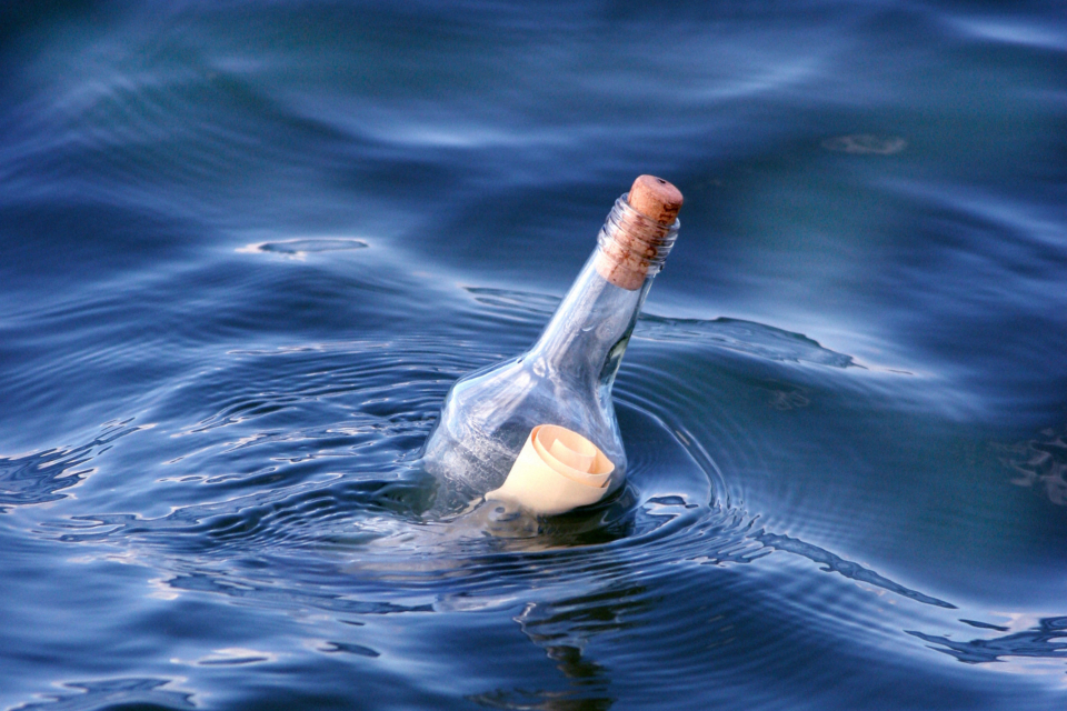 A Message in a Bottle Floating in Water